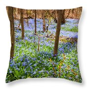 Blue Flowers In Spring Forest Throw Pillow
