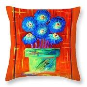 Blue Flowers On Orange Throw Pillow
