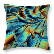 Blue Flowpaper Solarized Throw Pillow
