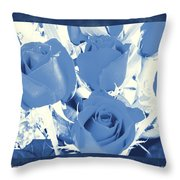 Blue For You Roses Throw Pillow