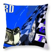 Blue Ford 351 Gt Throw Pillow