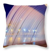 Blue Fountain At Night Throw Pillow