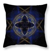 Blue Fractal Cross Throw Pillow