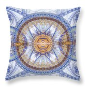 Blue Fractal Inception  Throw Pillow by Martin Capek