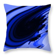Blue Fractal Throw Pillow