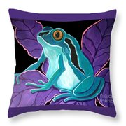 Blue Frog Purple Flower Throw Pillow