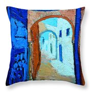 Blue Gate Throw Pillow