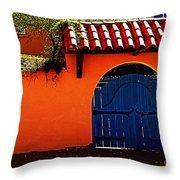 Blue Gate In Santa Fe Throw Pillow