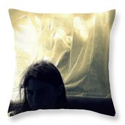 Blue Girl With Curtain  Throw Pillow