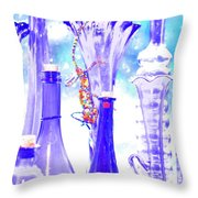 Blue Glass And Gecko Throw Pillow
