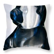 Blue Glass Bear Throw Pillow