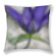 Blue Glass Flower Throw Pillow