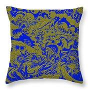 Blue Gold 40 Throw Pillow