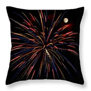 Blue Gold Pink And More - Fireworks And Moon Throw Pillow