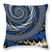Blue Gold Spiral Abstract Throw Pillow
