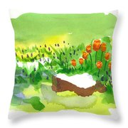 Blue Grape Hyacinths With Red Tulips And Tree Stump Throw Pillow