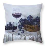 Blue Grapes And Wine Throw Pillow by Ylli Haruni