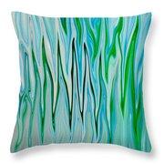 Blue Green Flames Throw Pillow