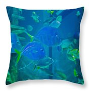 Blue Green Impression Throw Pillow