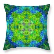 Blue Green Mandala Throw Pillow