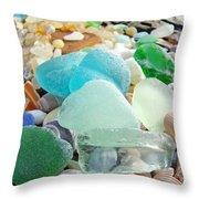 Blue Green Sea Glass Beach Coastal Seaglass Throw Pillow