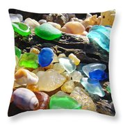 Blue Green Seaglass Art Prinst Agates Shells Throw Pillow by Baslee Troutman