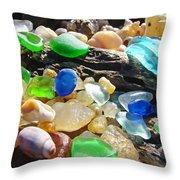 Blue Green Seaglass Art Prinst Agates Shells Throw Pillow