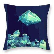 Blue Grouper Throw Pillow