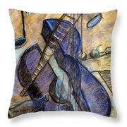 Blue Guitar - About Pablo Picasso Throw Pillow