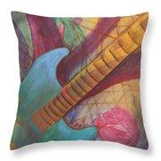 Blue Guitar Throw Pillow