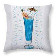 Blue Hawaiian Cocktail Throw Pillow