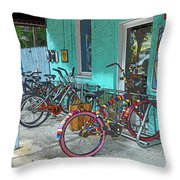 Blue Heaven Key West Bicycles Throw Pillow