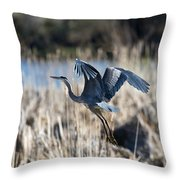 Blue Heron 1 Throw Pillow by Roger Snyder