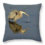 Blue Heron   #7783 Throw Pillow