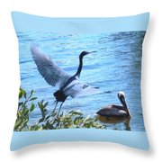 Blue Heron And Pelican Throw Pillow