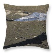 Blue Heron And Shadow Throw Pillow