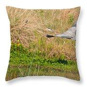 Blue Heron And The Black Bird Throw Pillow