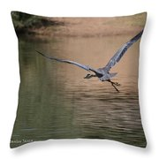 Blue Heron Has Wings Throw Pillow