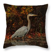 Blue Heron In The Fall Throw Pillow
