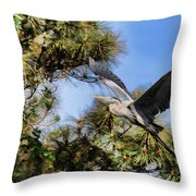 Blue Heron In The Trees Oil Throw Pillow