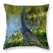 Blue Heron In The White Light Throw Pillow