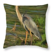 Blue Heron On The Bank Throw Pillow