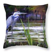 Blue Heron On The Bay Throw Pillow