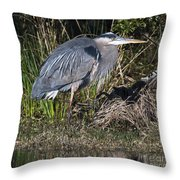 Blue Heron On The Hunt Throw Pillow