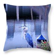 Blue Heron Reflections Throw Pillow
