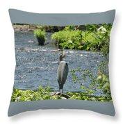 Blue Heron River Fishing  Throw Pillow