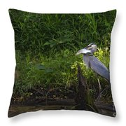 Blue Heron With A Fish-signed Throw Pillow