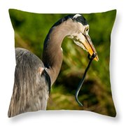 Blue Heron With A Snake In Its Bill Throw Pillow