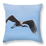 Blue Herons Last Fly By Throw Pillow