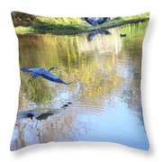 Blue Herons On Golden Pond Throw Pillow
